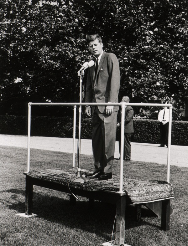 Photo of John F Kennedy speaking about the NLM in June 1963