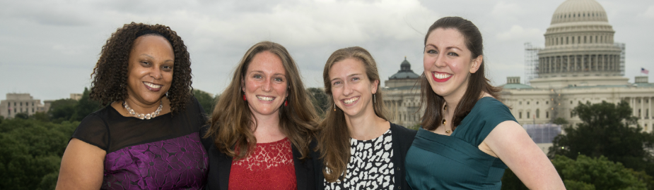 Lori E. Harris, Erin Foster, Ariel Deardorff, Kristina Elliott, NLM Associate Fellows 2014-2015 at the Board of Regents dinner September 2014.