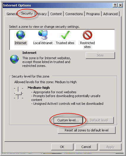 Internet Explorer Security Settings