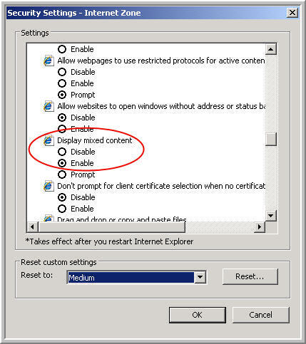 Internet Explorer Setting - mixed content