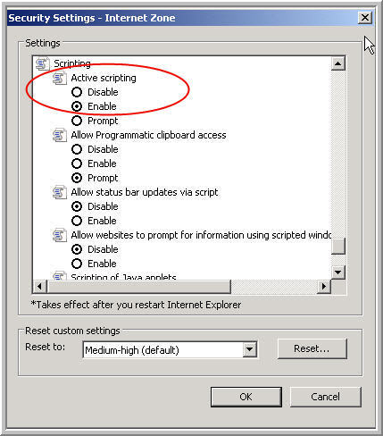 Internet Explorer Setting - active scripting