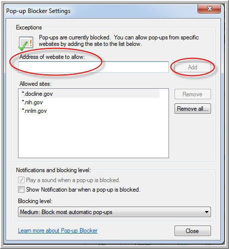 Internet Explorer Pop-up Blocker Settings Dialog Box
