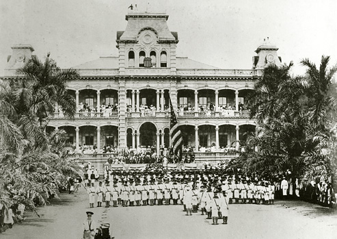 Ceremony marking the annexation of Hawai'i by the United States dated 1898.