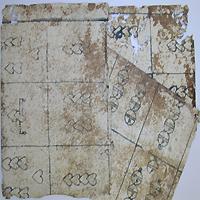 Three uncut sheets playing cards made with wood blocks that were found in Johann Spremberger's Ein kurtzer und gründlicher Bericht ... wider die pestilentischen Kranckheit