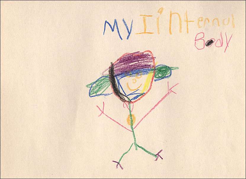 "Crayon drawing of a smiling figure standing below the words ""my"