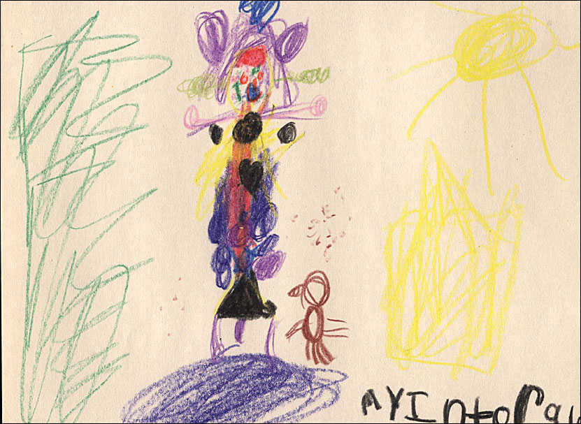 Colorful crayon drawing of a human figure standing next to a bird to