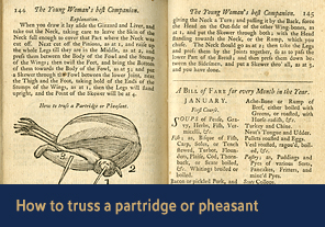 <a                           href='/gallery/fireandfreedom/explore/artoftrussing/f/'>6. How to truss a partridge or pheasant</a>                          <h4>How to truss goose; how to truss easterlings, ducks, teals, and widgeons from <em>Young Woman's Best Companion</em>, 1770</h4> 						<h5>Courtesy National Library of Medicine</h5>                         <p>In this illustration and accompanying explanation, Jackson describes how to truss a partridge or a pheasant, both of which have bony legs. 'Drawing' in the second paragraph refers to process of removing the partridge or pheasant's crop, liver, and others innards in preparation for cooking.</p>