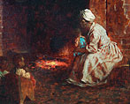 African American woman with child on her knee tends to a cook fire in a dark room.
