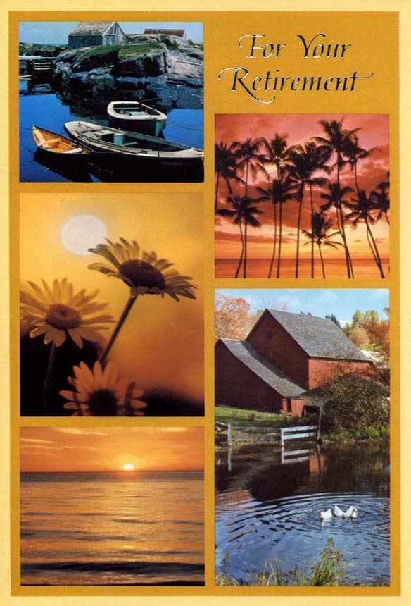 Retirement card with images of scenic landscapes, boating and sunset.