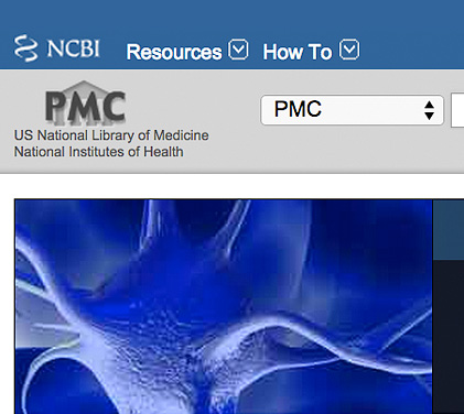 NCBI Resources and How To header with a blue microscopic image
