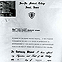 Page with typewritten text and photo of school building.