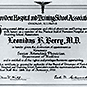 Certificate with text and medical symbol.