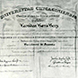 Certificate with text.