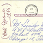 Postcard with handwritten text.
