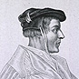 A man (Agrippa) in profile to the right, and seated wearing a hat and robes.