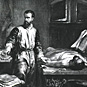 A man (Andreas Vesalius) stands in a cluttered room reaching for a scalpel, by a cadaver on a table.