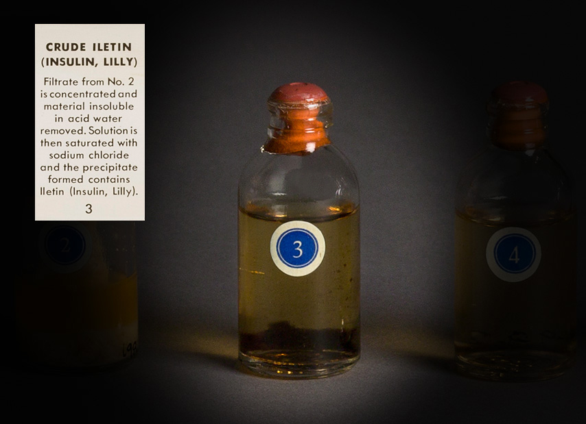 Photo of a bottle of crude Iletin.