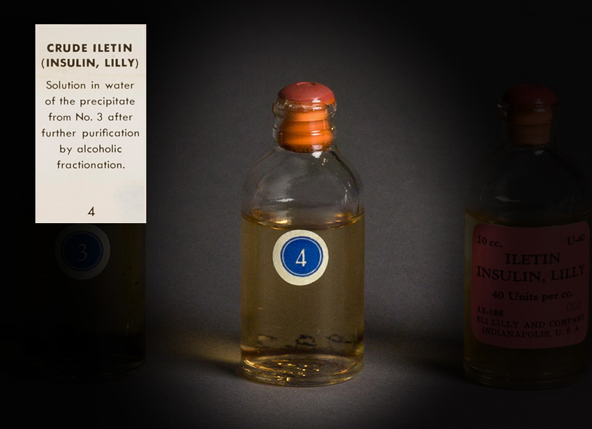 Photo of a bottle of crude iletin