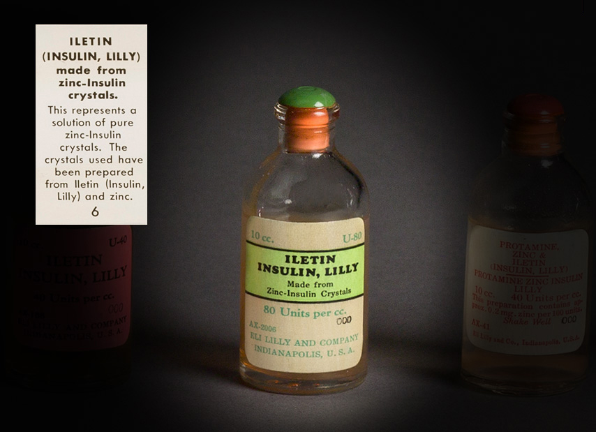 Photo of a bottle of Iletin made from zinc-Insulin crystals.