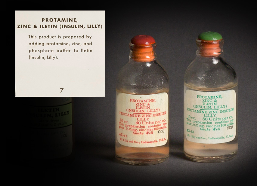 Photo of 2 bottles of protamine, zinc, and Iletin.