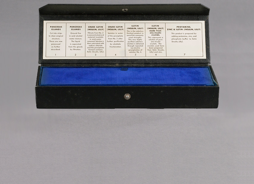 Rectangular sales kit with lid open showing label.