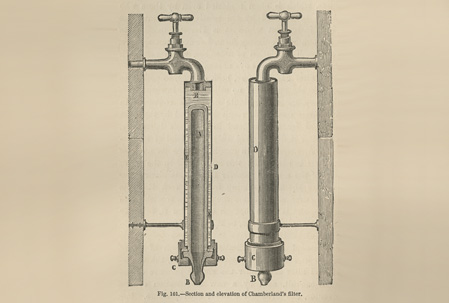 Drawing of filter seated in metal pipe-like case with spigot on top, shown with a cut-away view of the same filter.