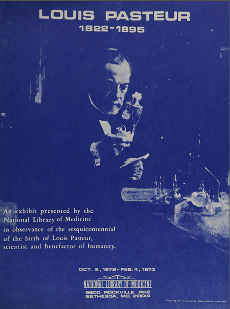 Blue-and-white graphic of Pastuer in a laboratory on the cover of a booklet