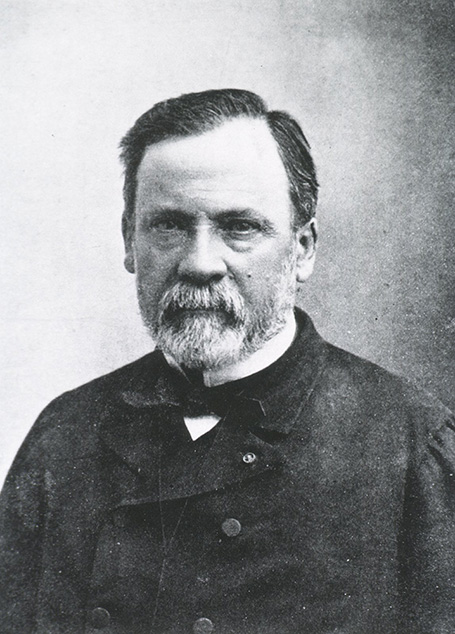 Black-and-white headshot of Pasteur with a beard.