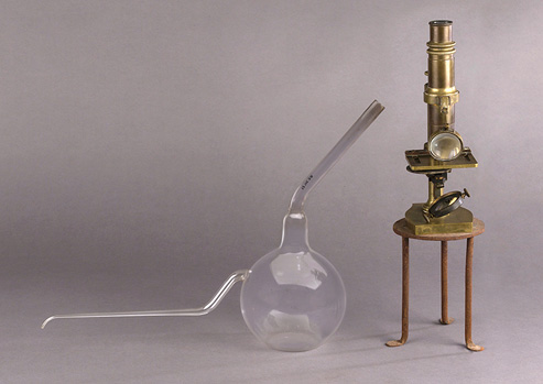 Bulb-shaped glass flask with two long thin necks sits next to an upright brass microscope on a small metal stand.