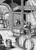Three men working at large uncovered wood beer vats under a high vaulted structure.