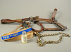 "Leather horse harness, coiled horse's lead with ""First Flight"" woven into fabric, and a small labeled glass vial."