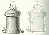 Diagram of cylindrical beer vat and a cross-section of the same beer vat showing various parts.