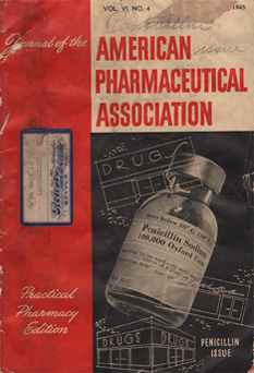 Pharmacetical booklet cover with a photograph a vial and graphic illustrations of drug stores.
