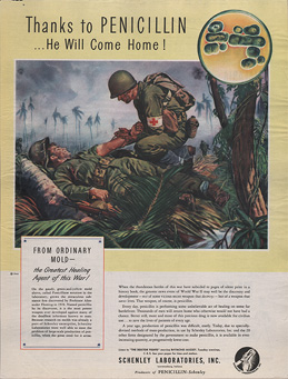 Magazine page featuring an illustration of a military field medic administering an injection in the arm of a soldier lying on the ground.