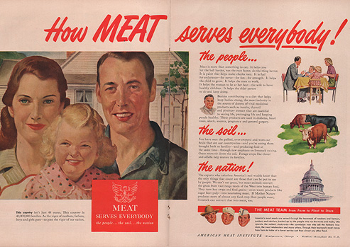 Magazine spread featuring an illustration of a smiling man, woman, and blond girl; a family of four at a dinner table; three cows; the dome of the U.S. Capitol.