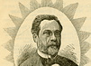 Head and shoulders drawing of Louis Pasteur surrounded by a starburst pattern.