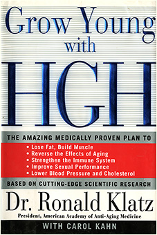 "Hardcover book with prominent blue text on cover: ""Grow Young with HGH."""