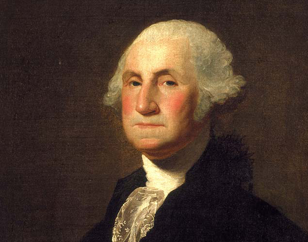 Side view of George Washington with white curly hair and lips closed tightly in a straight line.