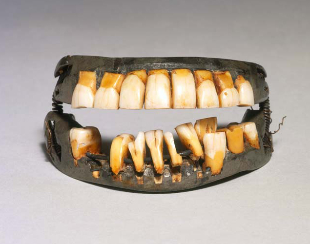 Front view of George Washington's teeth open.
