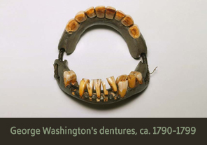 <a href='onlineactivities04.html'>4. George Washington&#8217;s dentures, ca. 1790&ndash;1799</a><h4>George Washington&#8217;s dentures, ca. 1790&ndash;1799</h4><h5><em>Courtesy Mount Vernon Ladies&#8217; Association</em></h5><p>George Washington owned this full-set denture made with human and animal teeth, lead, brass wire, and steel springs.  Unlike real teeth, the bulky and ill-fitting dentures were often uncomfortable and painful, while eating and speaking.</p>