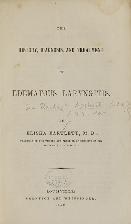 Title page from The history, diagnosis, and treatment of edematous laryngitis
