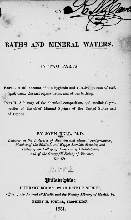Title page of On baths and mineral waters