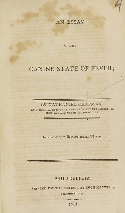 Title page of An essay on the canine state of fever