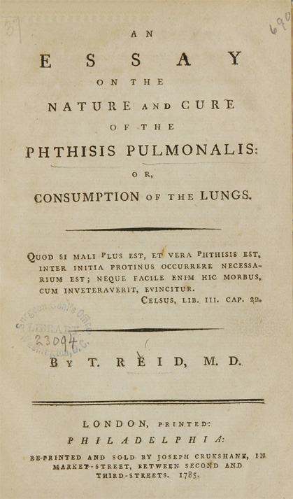 Title page of An essay on the nature and cure of the phthisis pulmonalis, or, consumption of the lungs