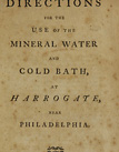 title page from Directions for the use of the mineral water and cold bath