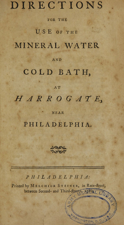 Title page of Directions for the use of the mineral water and cold bath...