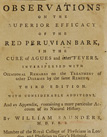 Title page of Observations on the superior efficacy of the red Peruvian bark