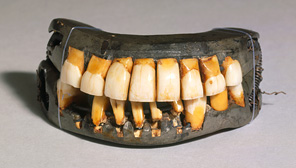 <p><a href='/exhibition/georgewashington/education/online-activity-dentures.html'>View the Dentures</a></p><p>Take a closer look at one of George Washington's many dentures. Afterwards, explore the <a href='http://www.mountvernon.org/content/timeline' target='_blank'>George Washington Timeline</a> interactive on Mount Vernon's website and learn more about how and from what his dentures were made. [hint: 1777 and 1783] </p>