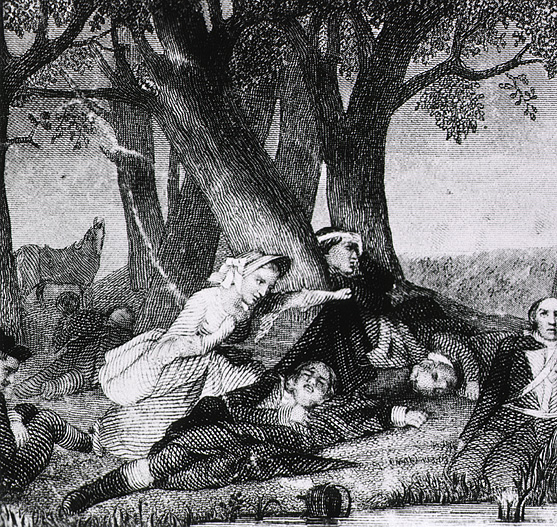 Engraving:  Nurse tends to injured soldiers of the Revolutionary Army