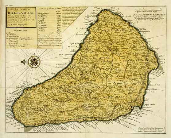 A hand-colored, engraved map of the island of Barbados.